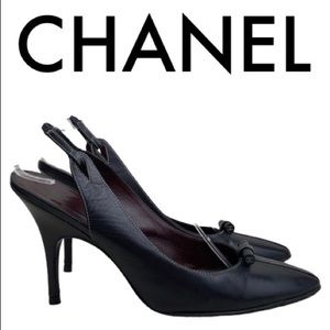 CHANEL BLACK SLING BACK HEELS SIZE 10